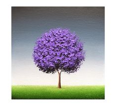 Contemporary Purple Tree Art Print Abstract Tree Stormy by BingArt