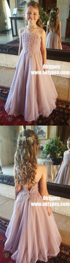 A-Line Spaghetti Straps Lilac Chiffon Flower Girl Dress with Appliques, TYP0969 #flowergirl #flowergirldresses