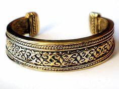 Brass Cuff Bracelet Celtic Design 1980s by JewelryQuestDesign, $19.99
