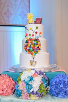 A whimsical Up inspired wedding cake