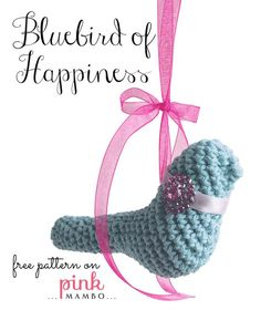 Crochet this charming little bluebird to hang in a window and he'll bring you a smile every day! Bluebird of Happiness Size long Materials Small amount cotton worsted-weight. All Free Crochet, Diy Crochet, Crochet Toys, Crochet Birds, Crochet Animals, Crochet Ornaments, Bird Patterns, Crochet Patterns Amigurumi, Blue Bird