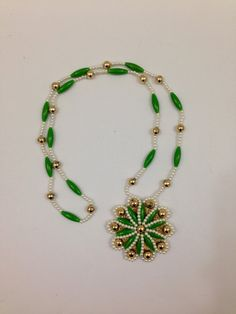 Vintage beaded necklace green gold and by TheTravelingTortoise