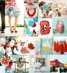 Dress and shoes (top left). Bridesmaids/wedding party photo op with bright red candy apples (left center). Glass soda/drink bottles with red/white stripe/swirl straws.