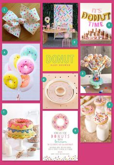 Ideas for a Donut Baby Shower Inspiration Boards and Color Palettes Baby Shower Fun, Baby Shower Favors, Inspiration Boards, Shower Inspiration, Donut Decorations, Partys, Donuts, Sprinkles, Baby Gifts