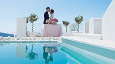 From the intimate Santorini Wedding of Leong and Jean Santorini Wedding, Real Weddings, Table Decorations, Outdoor Decor, Home Decor, Decoration Home, Room Decor, Dinner Table Decorations, Interior Decorating