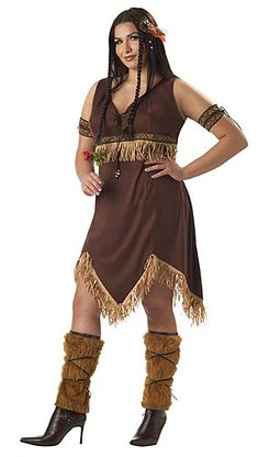 Sexy Indian Princess Adult Plus Costume Description: A Warrior Woman. This sassy native princess could never be in distress, because she puts all the brave warriors to th Costumes For Teens, Adult Costumes, Halloween Costumes, Costume Shop, Costume Dress, Curvy Women Fashion, Womens Fashion For Work, Indian Princess Costume, Plus Size Costume