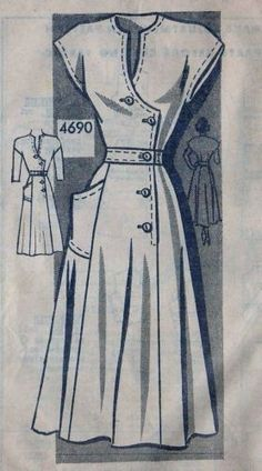 Vintage 50s Mail Order Dress Sewing Pattern 4690 B32 14