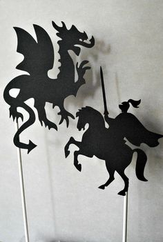 Fantasy Knight and Dragon Shadow Puppet 2 pack by nikinut on Etsy, $7.00