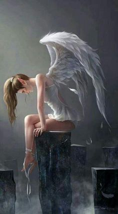 Fantasy Art, angel, wings, silence, meditation, inspiration