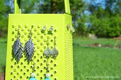 Cheese Grater Earring Holder. I love this idea!! If I see a cheese grater at a thrift shop, my next project is ready!