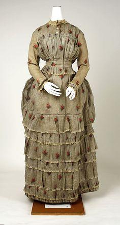 Circa 1880 cotton dress, American.