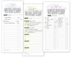 Printable lists | How About Orange
