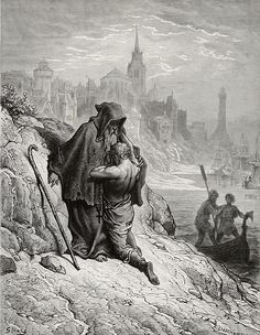 Oh shrieve me, shrieve me, holy man - from The Rime of the Ancient Mariner - by Paul Gustave Dore - Plate 33  (E. Deschamps, engraver)