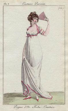 Peigne d'Or, Fichu-Ceinture, Costume Parisiene 151 1800s Fashion, 18th Century Fashion, Victorian Fashion, Jane Austen, Regency Dress, Regency Era, Historical Costume, Historical Clothing, Jean Délavé