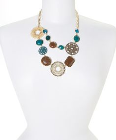 Love this Gold & Teal Double-Strand Circle Bib Necklace by Ethel & Myrtle on #zulily! #zulilyfinds