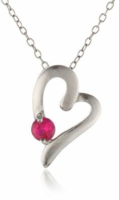"""Amazon.com: Sterling Silver and Lab Created Ruby Stud Asymmetrical Heart Pendant Necklace, 18"""": Jewelry"""
