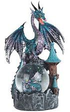 "8"" Metallic Dragon and Castle Snow Globe Statue Figurine Aqua Blue Figure Myth"