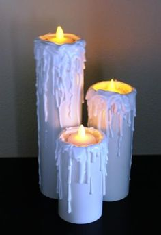 Well I have my first of about 40 pvc candles completed. Created them from white PVC cut to various lengths, cut a circle of pink scrap styro that was. Halloween Candles, Halloween Home Decor, Christmas Candles, Diy Halloween Decorations, Outdoor Christmas, Halloween Crafts, Holiday Crafts, Christmas Crafts, Christmas Decorations
