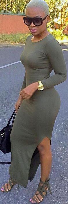3d91322d8b62 Fashion Scoop Long Sleeve Pure Color Slit Long Bodycon Dress