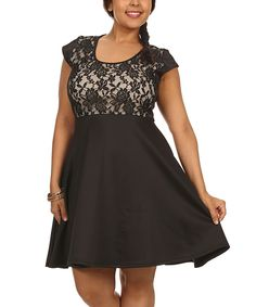 Look at this #zulilyfind! Status Array Black Lace Fit & Flare Dress - Plus by Status Array #zulilyfinds