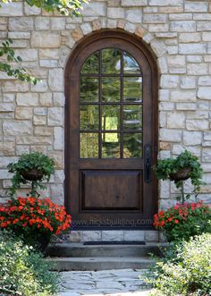 Beautiful Round Top Door This Mahogany Wood Exterior Set In Stone Is
