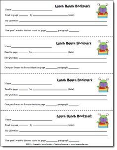 Literary Lunch Bunches Bookmark freebie from Laura Candler's Teaching Resources on TpT
