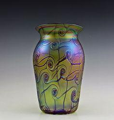 Glass Charitable Glamorous Bohemian Art Nouveau Jugendstil Iridescent Glass Bowl