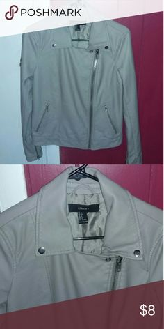 Jacket Grayish/Tan leather jacket from forever 21. Never worn and in perfect condition! Super comfy!! Forever 21 Jackets & Coats