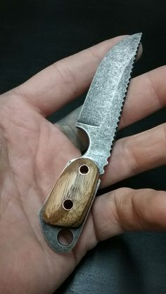 #NightTurtleKnives NightTurtleKnives.etsy.com Neck Knife. O1 Tool Steel Acid Etched and Stone Washed Finish. Zebra Wood Handle w Copper Tubes and Liners. File Work.