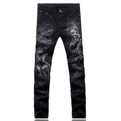 735d5f32e006f Men's fashion slim skull man wolf print jeans Casual black denim pants