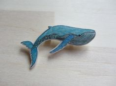 Blue whale illustration pin brooch hand drawn by ColorfulClay, $5.50