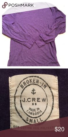 "J Crew ""broken in"" men's long sleeve t-shirt Super soft J Crew ""broken in"" men's long sleeve tshirt in purple! Great shirt... simply doesn't fit my husband:( J. Crew Shirts Tees - Long Sleeve"