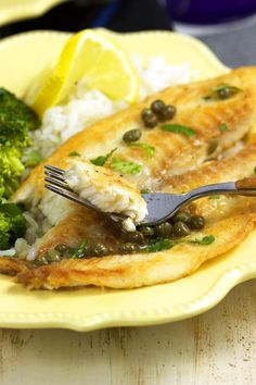 Ready in 10 minutes, this Easy Tilapia Piccata from RecipeGirl.com is a family weeknight favorite dinner recipe.