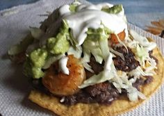 Shrimp and beef tostada Recipe -  Yummy this dish is very delicous. Let's make Shrimp and beef tostada in your home!