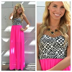 Strapless maxi dress w/ black & white Aztec print top and bright pink skirt