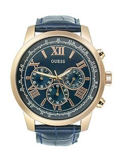 gc watches b1 class x44001g1 needs products and guess blue and rose gold tone classic sport chronograph men s watch u0380g5