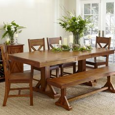 Trestle table w/chairs and bench