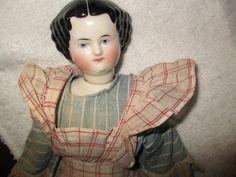 "17"" Antique RARE Swivel Head China, Antique Cloth Body & Antique Clothing"