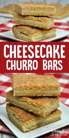 Churro Cheesecake Bars. A combination between cheesecake and churros. This is so yummy! #dessert #churro #cheesecake #cheesecakebars #food #recipe #yummy