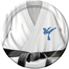 """Black Belt Birthday 7 Dessert Plates (8 count) by Party Supplies. $4.07. From the Black Belt Party Supply Collection. Black Belt Birthday Dessert Plates 8 Pack. These lunch plates feature a martial arts uniform with a black belt and a blue silhouetted figure logo. Each package includes 8 plates that measure 7"""" across."""