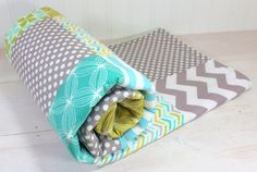 Baby Blanket, Boy Patchwork Baby Blanket, Photography Prop, Stroller Blanket, Nursery Decor, Teal, Aqua Blue, Olive Green and Gray Chevron