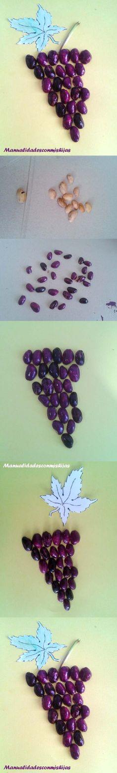 Racimo de uvas con cáscaras de pistachos pintadas con esmalte