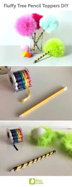 Fluffy Tree Pencil Toppers #DIY. The Lorax by Dr. Seuss is a great read for a rainy day. These adorable pencil toppers, inspired by Truffula Trees, are great for taking notes in style or brightening up your desk with fun pops of color.