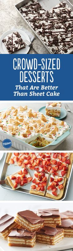 Got a potluck to attend? These tasty desserts are so good, everyone will be asking for your recipe! From sheet-pan cookie bars to triple-layer toffee bars, these sweets are perfect for any crowd.