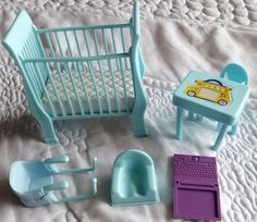 Happy Family Pregnant Midge and Baby Barbie crib accessories dollhouse furniture #Mattel #DollswithClothingAccessories