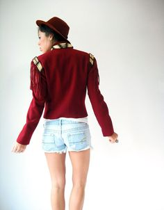 80's Vintage Wool Burgundy Navajo Coat with Bone Beads by viralthreads