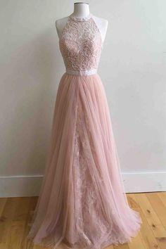 Modest prom dress, pink chiffon lace prom dress
