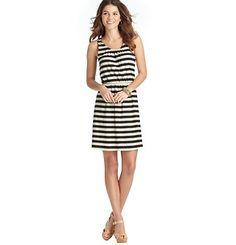 Petite Striped Cutout Back Sleeveless Dress