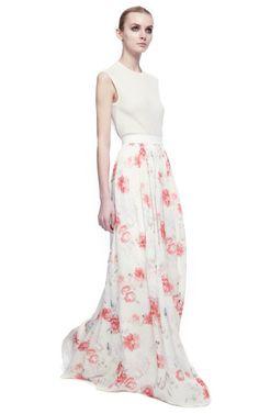 Floral Print Georgette Long Skirt by Giambattista Valli for Preorder on Moda Operandi