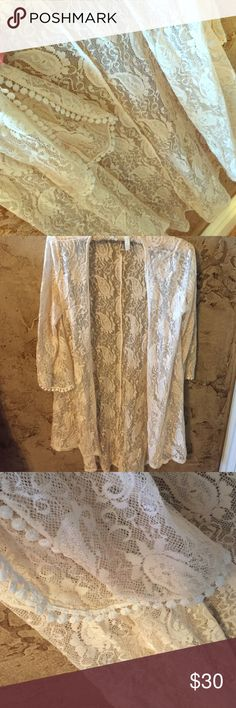 StyleBook Lace with Pom detail cream kimono StyleBook Lace with Pom detail cream kimono. Size OSFM. Only worn once. StyleBook Tops